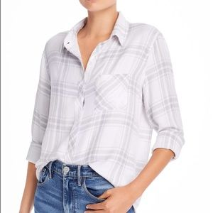 Rails White and Grey Plaid Flannel